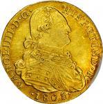COLOMBIA. 1803-JJ 4 Escudos. Santa Fe de Nuevo Reino (Bogotá) mint. Carlos IV (1788-1808). Restrepo