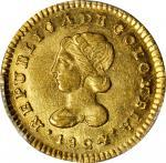 COLOMBIA. 1824-FM Escudo. Popayán mint. Restrepo 162.3. MS-62 (PCGS).