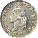 1861 (1874) Confederate Cent. Haseltine Restrike. Breen-8007. Silver. Proof-58 Details--Rim Bumps, P