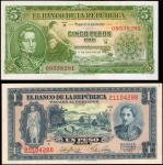 COLOMBIA. Banco de la Republica. 1 & 5 Pesos Oro, 1953. P-398 & 399. About Uncirculated.