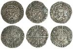 Henry VII (1485-1509), Groats (3), type IA, 3.02g, m.m. lis on sun and rose, henric di gra rex anglz