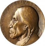 1912-1913 Portrait Medal of Native American Sunka-Hanska-Oglala-Sioux. Uniface. By Edward Sawyer. Le
