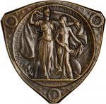 1904 Louisiana Purchase Exposition Commemorative Medal. Bronze. 71.9 mm. x 71.1 mm shield. By Adolph