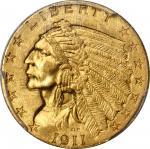 1911-D Indian Quarter Eagle. Strong D. MS-63+ (PCGS). CAC.