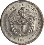 COLOMBIA. 1850 10 Reales. Bogotá mint. Restrepo 197.1. MS-64 (PCGS).
