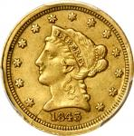 1843-C Liberty Head Quarter Eagle. Small Date. Winter-1, the only known dies. Die State III. EF-40 (