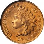 1870 Indian Cent. FS-901. Shallow N. MS-65 RD (PCGS).