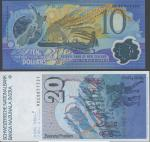 Reserve Bank of New Zealand, $10 (4), 2000, serial number AB00014904/05/06, C100029915, blue orange