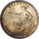 SWITZERLAND. 5 Francs, 1874-B. Bern Mint. NGC MS-66.