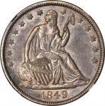 1849 Liberty Seated Half Dollar. WB-12. Rarity-3. MS-62 (NGC).