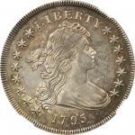 1795 Draped Bust Silver Dollar. B-52, B-15. Rarity-2. Centered Bust. AU-53 (NGC).