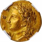 ITALY. Calabria. Tarentum. AV Diobol (1/6 Stater) (1.42 gms), ca. 320-315 B.C. NGC AU, Strike: 5/5 S