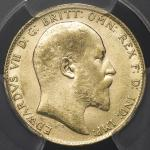 GREAT BRITAIN Edward VII エドワード7世(1901~10) Sovereign 1909 PCGS-AU55 EF