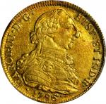 COLOMBIA. 8 Escudos, 1786-P SF. Popayan Mint. Charles III (1759-88). PCGS AU-55 Gold Shield.