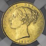 GREAT BRITAIN Victoria ヴィクトリア(1837~1901) Sovereign 1864 NGC-MS63 UNC