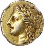 SICILY. Syracuse. Agathokles, 317-289 B.C. EL 50 Litrai (Hemistater) (3.55 gms), ca. 306/5 B.C. NGC