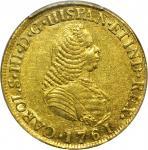 COLOMBIA. 1761-J 4 Escudos. Popayán mint. Carlos III (1759-1788). Restrepo M64.4. AU-55 (PCGS).