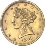 USA République fédérale des États-Unis d'Amérique (1776-à nos jours). 5 dollars Liberty 1893, Philad