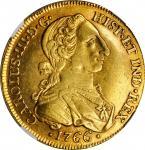COLOMBIA. 8 Escudos, 1766-NR JV. Nuevo Reino Mint. Charles III. NGC AU-53.