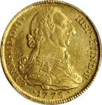 COLOMBIA. 4 Escudos, 1773-P JS. Popayan Mint. Charles III. PCGS AU-58 Gold Shield.