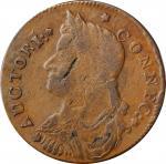 1787 Connecticut Copper. Miller 33.19-Z.14, W-3655. Rarity-7-. Draped Bust Left. Very Fine.