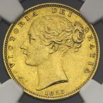 GREAT BRITAIN Victoria ヴィクトリア(1837~1901) Sovereign 1853 NGC-MS61 AU