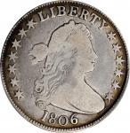 1806 Draped Bust Half Dollar. O-127a, T-9. Rarity-6. Pointed 6, Stem Through Claw. VG-8 (PCGS). CAC.