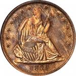 1864 Pattern Liberty Seated Half Dollar. Judd-392, Pollock-460. Rarity-7-. Copper. Reeded Edge. Proo