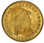 1799 Capped Bust Right Eagle. Bass Dannreuther-10. Rarity-3. Large Obverse Stars. Mint State-65 (PCG
