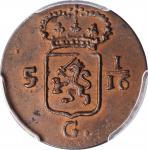 1808年荷兰东印度巴达维亚共和国1Duit铜币。NETHERLANDS EAST INDIES. Batavian Republic. Duit, 1808. PCGS MS-64 Brown Go
