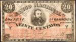 COLOMBIA. Banco Nacional de los Estados Unidos de Colombia. 20 Centavos. June 15, 1885. P-Unlisted (