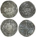 Henry VII (1485-1509), Groats (2), type IIIC, 2.95g, m.m. cross crosslet/ greyhound head 2, henric d