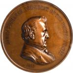 1857 James Buchanan Indian Peace Medal. Large Size. Bronze. 76 mm. Julian IP-36. MS-65 BN (NGC).
