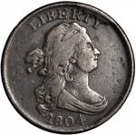 1804 Draped Bust Half Cent. C-9. Rarity-2. Crosslet 4, Stems to Wreath. Fine-12 Environmental Damage