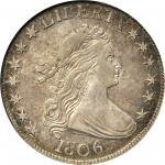 1806 Draped Bust Half Dollar. O-109, T-15. Rarity-1. Pointed 6, Stem Not Through Claw. AU-50 (NGC).