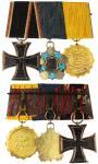 清末银质珐琅功牌及镀金二等功牌连同一枚德国铁十字勋章挂章,保存良好,罕见