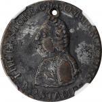 1766 Pitt Halfpenny Token. Betts-519, W-8354. Brass. VF Details--Holed (NGC).
