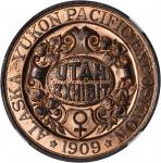 1909 Alaska-Yukon-Pacific Exposition. Utah Dollar. Copper. 38 mm. HK-359. Rarity-5. MS-65 RD (NGC).