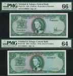 Central Bank of Trinidad and Tobago 5 dollars (2), ND (1964), serial number G534847, G/1 692024, gre