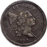 1797 Liberty Cap Half Cent. C-2. Rarity-3. Centered Head, Plain Edge. EF-45 (PCGS).