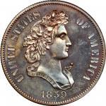 1859 Pattern Half Dollar. Judd-240, Pollock-296. Rarity-5. Copper. Reeded Edge. Proof-62 BN (PCGS).