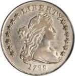 1799 Draped Bust Silver Dollar. BB-151, B-13. Rarity-5. Irregular Date, 13-Star Reverse. VF-20 (PCGS