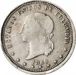 COLOMBIA. 5 Decimos, 1869. Bogota Mint. PCGS FINE-15 Gold Shield.