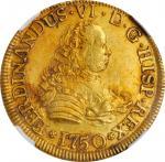 CHILE. 4 Escudos, 1750/5-So J. Santiago Mint. Ferdinand VI. NGC MS-61.