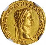 CLAUDIUS, A.D. 41-54. AV Aureus (7.70 gms), Lugdunum Mint, A.D. 46-47. NGC Ch EF, Strike: 5/5 Surfac