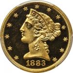 1883 Liberty Half Eagle. 30th Anniversary Green Label. Proof-65 Deep Cameo (PCGS). Secure Holder.