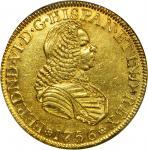 COLOMBIA. 1756-S 4 Escudos. Santa Fe de Nuevo Reino (Bogotá) mint. Ferdinand VI (1746-1759). Restrep