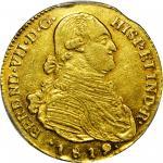 COLOMBIA. 1819-JF 4 Escudos. Santa Fe de Nuevo Reino (Bogotá) mint. Ferdinand VII (1808-1833). Restr