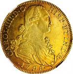 COLOMBIA. 8 Escudos, 1798 NR-JJ. Nuevo Reino Mint. Charles IV. NGC AU-53.