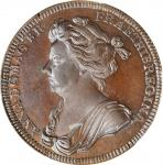 GREAT BRITAIN. Anne Coronation Bronze Medal, 1702. PCGS MS-63 Brown Gold Shield.